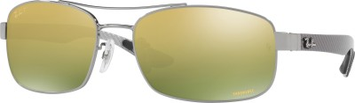 Ray-Ban Rectangular Sunglasses(Green) at flipkart