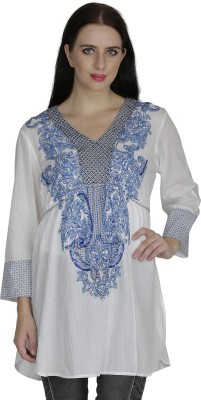 RITU DESIGNS Party 3/4th Sleeve Embroidered Women White, Blue Top