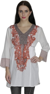 RITU DESIGNS Party 3/4th Sleeve Embroidered Women White, Orange Top