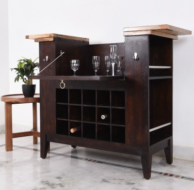 Home Edge Orbin Solid Wood Bar Cabinet(Finish Color - teak and natural)