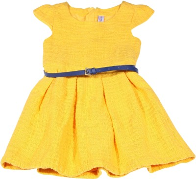 US Polo Kids Girls Midi/Knee Length Casual Dress(Yellow, Cap Sleeve)