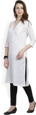 Biba Women Self Design Straight Kurta(White)