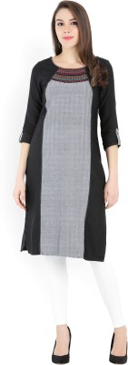 Aurelia Self Design Women Straight Kurta(Black, Grey)