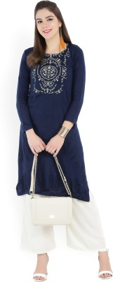 Aurelia Women Embroidered Straight Kurta(Blue)