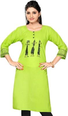 ALC Creations Printed Women Straight Kurta(Green, Black)