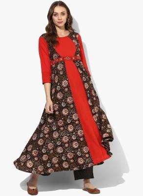 Shakumbhari Embroidered Women Flared Kurta(Red)