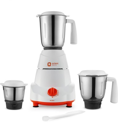 Orient Electric Elite MG5001G 500 W Mixer Grinder(White and Orange, 3 Jars)