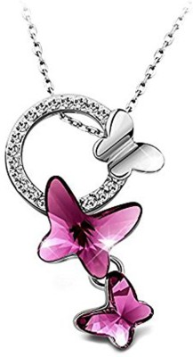 Yellow Chimes Sparkling Butterfly Rhodium Swarovski Crystal Copper Pendant at flipkart