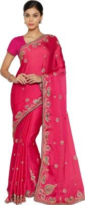 730445e993 Florence Embroidered Fashion Satin, Chiffon Saree(Pink) on Flipkart ...