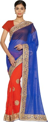 Florence Embroidered Fashion Chiffon Saree(Blue, Red)