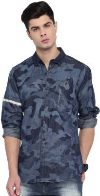 Roadster Men Printed Casual Blue Shirt