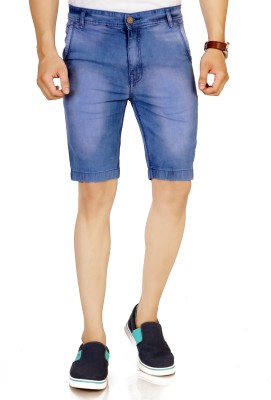 Studio Nexx Solid Men Blue Denim Shorts