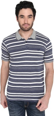 Zido Striped Men Polo Neck Multicolor T-Shirt