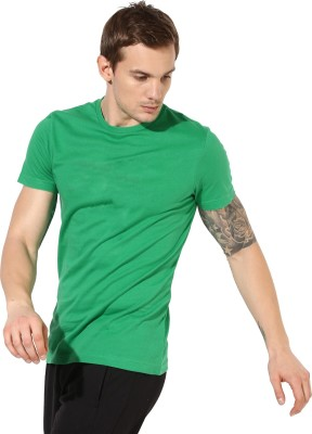 First Row Solid Men's Round Neck Green T-Shirt