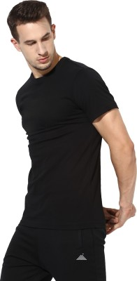 First Row Solid Men's Round Neck Black T-Shirt