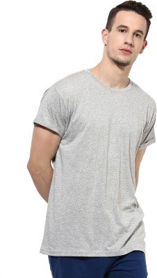 First Row Solid Men's Round Neck Grey T-Shirt