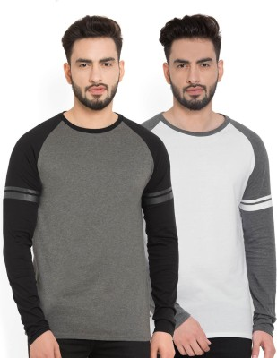Billion PerfectFit Solid Men Round Neck Grey, White T-Shirt(Pack of 2)