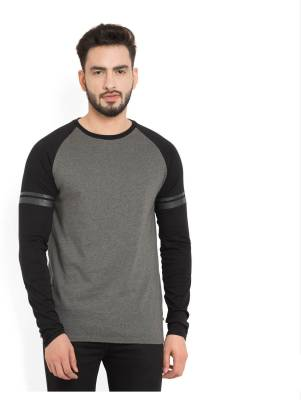 Billion PerfectFit Solid Men Round Neck Grey, Black T-Shirt