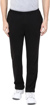 First Row Solid Men Black Track Pants