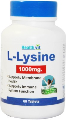 Healthvit L Lysine 1000 mg Supplements (60 Capsules)