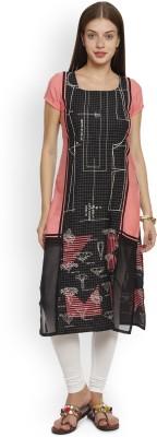 W Women Printed, Checkered, Colorblock Straight Kurta(Multicolor)