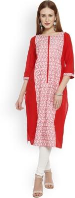 Aurelia Women Printed Straight Kurta(Red, White)