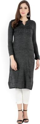 Aurelia Women Striped Straight Kurta(Grey)