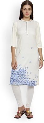 Aurelia Women Printed Straight Kurta(White)
