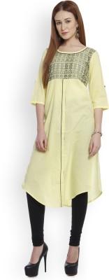 Aurelia Women Printed Straight Kurta(Yellow)