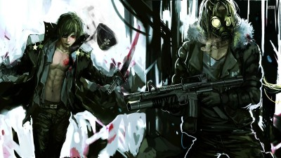 Akhuratha Anime aman-anarchy-gun-gas-mask Wall Poster Paper Print(12 inch X 18 inch, Rolled)  available at flipkart for Rs.312