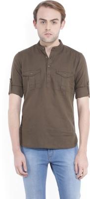 Locomotive Men's Solid Casual Green Shirt