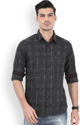 Locomotive Men's Printed Casual Grey Shirt