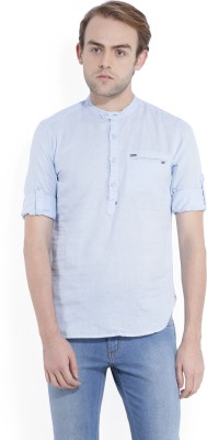 Locomotive Men's Solid Casual Blue Shirt