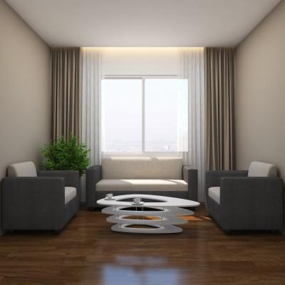 GIOTEAK Fabric 3 + 1 + 1 Grey Sofa Set