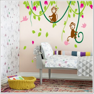 Sree Cart Medium Wall sticker decals & Two monkeys Sticker(Pack of 1)  available at flipkart for Rs.99