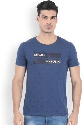 Locomotive Solid Men's Round Neck Blue T-Shirt