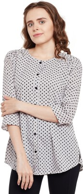 FORELEVY Casual 3/4 Sleeve Polka Print Women White Top