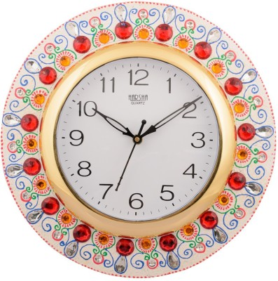 eCraftIndia Analog 30 cm X 30 cm Wall Clock(White, Red, With Glass) at flipkart