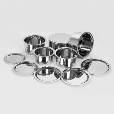 Sumeet 5 Pcs Stainless Steel Induction & Gas Stove Friendly, Heavy 18 Gauge, Flat Bottom Container Set/Tope Set With Lids Size 10 To 14 Induction Bottom Cookware Set(Stainless Steel, 10 - Piece)