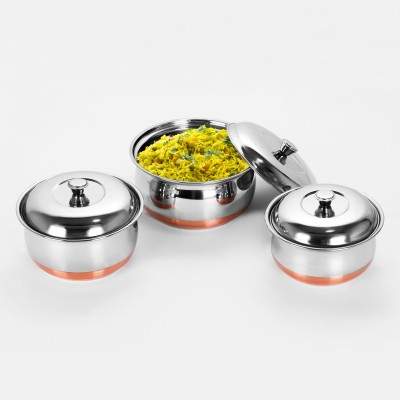 Sumeet 3pc Set of Stainless Steel Copper Bottom Multipurpose Cook & Serve Handi With Lid Cookware Set(Stainless Steel, 4 - Piece)