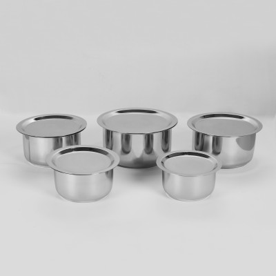 Sumeet 5 Pcs Stainless Steel Induction & Gas Stove Friendly Container Set / Tope Set With Lids Size No.10 To No.14 Induction Bottom Cookware Set(Stainless Steel, 10 - Piece)