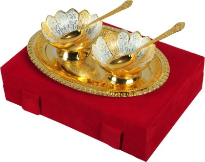 Odna Bichona Silver And Gold Plated Bowl Spoon Tray Serving Set(Pack of 5) at flipkart