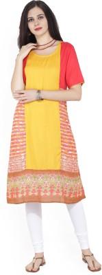 Imara Women Solid, Printed A-line Kurta(Yellow)