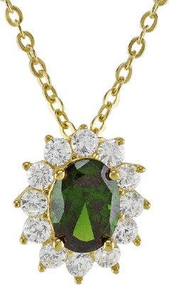 Ornate 18k Yellow Gold Plated Created Emerald Oval Pendant With Simulated Diamonds Silver Alloy Pendant