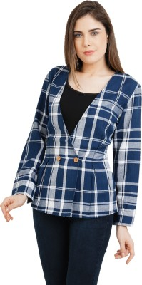 Eves Pret A Porter Checkered Double Breasted Casual Women's Blazer(Dark Blue)