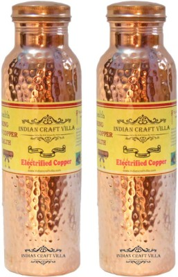 Nirvana Craft Villa Handmade Set Of 2 Best Quality Joint free Leak Proof 100% Pure Copper Hammered Thermos Design 1600 ml Bottle(Pack of 2, Brown) at flipkart