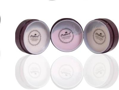 Amura Loose Face Powder Compact - 25 g(Natural, Blush, Rose)(Set of 1)