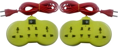 S.Blaze Combo of 2 Multi-Colour 4+1 ABS Body Extension Board / Power Strip with ON / OFF Switch with 3-4m lengthy wire. 2 Two Pin Socket + 2 A Three Pin Socket  available at flipkart for Rs.299