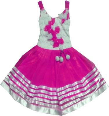 Kraft10 Girls Midi/Knee Length Party Dress(Pink, Sleeveless)