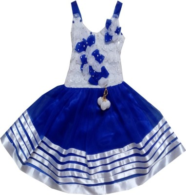 Kraft10 Girls Midi/Knee Length Party Dress(Blue, Sleeveless)